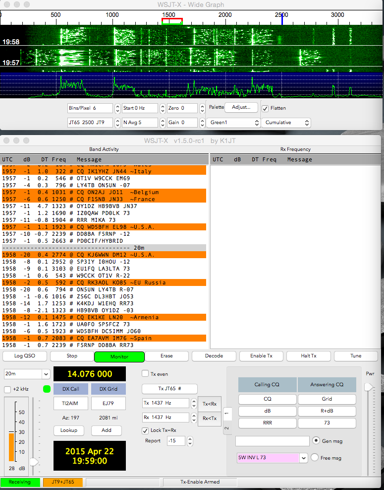 WSJT-X – JT-65 and JT-9 on OS X